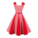 Vintage Fashion Color Block Striped Printed Sleeveless Scoop Neck Midi Flared Dress