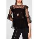 Chic Floral Embroidered Mesh Inserted Round Neck 3/4 Sleeve Sheer Blouse