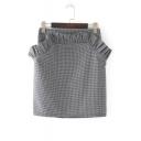 High Waist Fashion Ruffle Hem Chic Plaids Printed Mini Shift Skirt