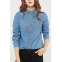 Chic Embroidered Lapel Collar Long Sleeve Buttons Down Denim Shirt