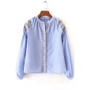 Floral Embroidered Ruched Collar Cap Shoulder Long Sleeve Button Down Shirt