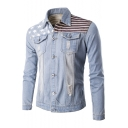 Fashion America Flag Pattern Lapel Collar Long Sleeve Buttons Down Denim Jacket
