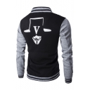 Fashion Pattern Stand-Up Collar Long Sleeve Chic Color Block Baseball Jacket