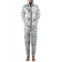 Casual Leisure Fashion Christmas Snowman Pattern Hooded Long Sleeve Jumpsuits