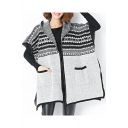 Geometric Pattern Open Front Batwing Sleeve Contrast Trim Hooded Knit Coat