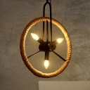 Industrial Multi Light Pendant Light Open Bulb Style, Wheel Shape Fixture