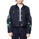 Fashion Floral Embroidered Long Sleeve Lapel Collar Buttons Down Denim Jacket