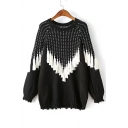 Fashion Color Block Tassel Hem Round Neck Long Sleeve Pullover Sweater
