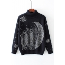 Turtle Neck Long Sleeve Fashion Star Moon Printed Pullover Comfort Sweater