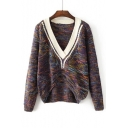 New Trendy Fashion V Neck Long Sleeve Dipped Hem Color Block Pullover Sweater