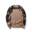 Loose Leisure Round Neck Long Sleeve Color Block Camouflage Pattern Sweatshirt