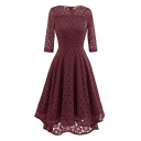 Hot Fashion Basic Plain Round Neck 3/4 Sleeve Lace Inserted Midi A-Line Dress