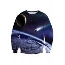 New Trendy 3D Stars Galaxy Pattern Long Sleeve Round Neck Pullover Sweatshirt