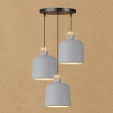 Industrial 3 Light Multi Light Pendant with 10.2''W Cylinder Shade, Grey