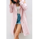 Notched Lapel Collar Long Sleeve Chic Cold Shoulder Simple Plain Zip Up Trench Coat
