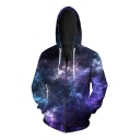 New Stylish Digital Galaxy Printed Long Sleeve Zip Up Hoodie for Couple