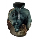 New Trendy Digital Wolf Pattern Casual Loose Oversize Long Sleeve Unisex Hoodie