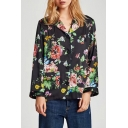 New Fashion Floral Pattern Notched Lapel Collar Long Sleeve Buttons Down Shirt
