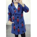 Lapel Collar Cartoon Character Printed Long Sleeve Double Breasted Woolen Coat