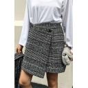 High Waist Classic Plaids Printed Mini A-Line Asymmetrical Skirt