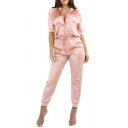 New Collection Hot Fashion Simple Plain Short Sleeve Zip Up Collar Jumpsuits