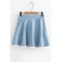Basic Simple High Waist Summer's Mini A-Line Denim Skirt