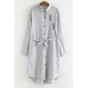 Casual Leisure Classic Striped Printed Lapel Collar Long Sleeve Buttons Down Tunic Shirt