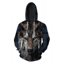 New Fashion Digital Wolf Head Printed Long Sleeve Zip Up Hoodie