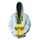 New Arrival Fashion Digital Pineapple Printed Long Sleeve Zip Up Hoodie