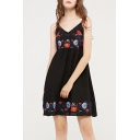 Spaghetti Straps V Neck Sleeveless Chic Floral Embroidered Mini A-Line Slip Dress