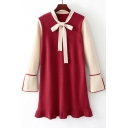 Color Block Tie Front Long Bell Sleeve Ruffle Hem Knit Short Dress