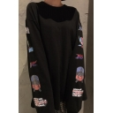 New Arrival Cartoon Letter Printed Long Sleeve Round Neck Loose T-Shirt