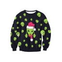 New Arrival Digital Christmas Alien Pattern Long Sleeve Round Neck Sweatshirt