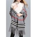 Color Block Striped Printed Long Sleeve Fashion Tassel Hem Cape Cardigan