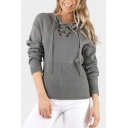 Hot Fashion Lace-Up V Neck Long Sleeve Basic Plain Pullover Sweater