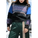 Fashion Color Block Tribal Printed Mock Neck Long Sleeve Pullover Sweater