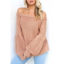 Hot Popular Sexy Off The Shoulder Long Sleeve Simple Plain Sweater