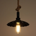 Industrial Single Pendant Light with Scalloped Shade, Rope Hanging Fixture Arm for Barn