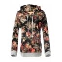 Hot Popular Retro Floral Printed Long Sleeve Casual Loose Hoodie