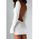 New Collection Sexy Open Back Boat Neck Long Sleeve Plain Mini Knit Dress