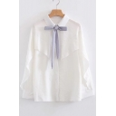 Fashion Bow Tied Collar Long Sleeve Ruffle Hem Buttons Down Shirt