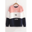 New Arrival Color Block Letter Printed Round Neck Long Sleeve Pullover Sweatshirt