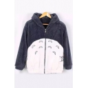 Winter's Warm Hooded Long Sleeve Fashion Zip Up Color Block Coat