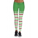 New Collection Fashion Striped Printed Christmas Theme Yoga Leggings