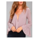 Chic Simple Plain Sexy Plunge Neck Long Sleeve Leisure Chiffon Blouse