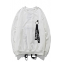 Casual Loose Letter Ribbons Street Style Round Neck Long Sleeve Sweatshirt