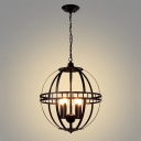 Industrial Orb Chandelier 4 Light with Metal Cage in Black