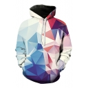 Fashion Digital Color Block Geometric Pattern Long Sleeve Sports Hoodie