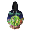 Fashion Digital Cartoon Character Printed Long Sleeve Zip Up Hoodie for Couple