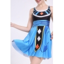 New Trendy Fashion Digital Color Block Sleeveless Scoop Neck Mini A-Line Dress